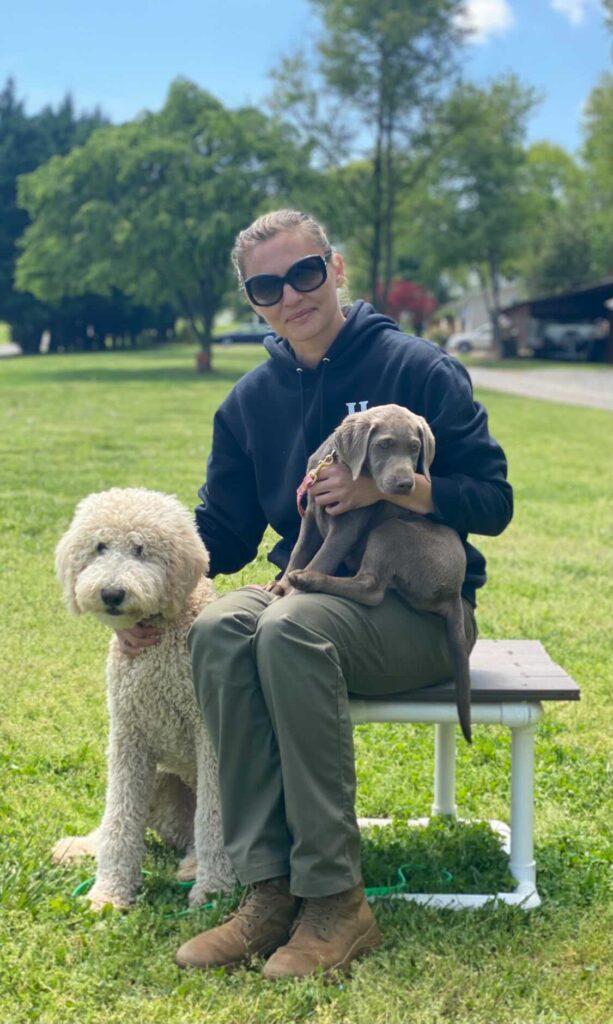 magdalena szymanska with two dogs