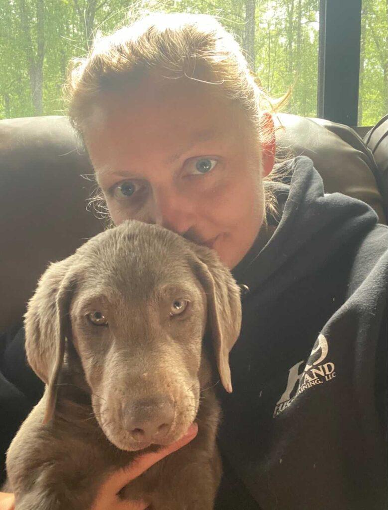magdalena szymanska with dog selfie