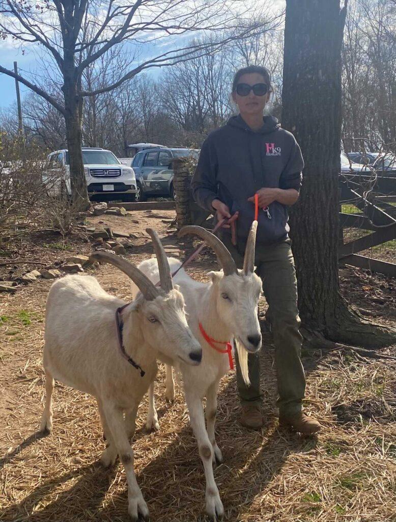 magdalena szymanska with two goats